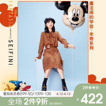Dress Winter 2020 Coffee spot coffee pre-sale coffee pre-sale 1 155/80A/S 160/84A/M 165/88A/L 170/92A/XL longuette singleton  Long sleeves High waist Cartoon animation Socket Pleated skirt routine 25-29 years old Type X 'Seifini / Shi Fanli More than 95% polyester fiber Polyester 100%