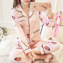 Pajamas / housewear set female Other / other M L XL XXL Polyester (polyester) Long sleeves Cartoon pajamas autumn routine Small lapel Solid color trousers Front buckle youth 2 pieces rubber string More than 95% polyester fiber printing 200g