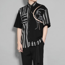shirt Youth fashion Original line M,L,XL,2XL black routine square neck Short sleeve standard daily summer OrA2136 youth tide 2021 polyester fiber Embroidery