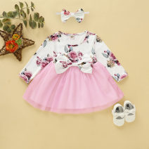 Dress White, pink female Other / other Refer to the size chart, size 70 suggests 0-4 months, size 80 suggests 4-6 months, Size 90 suggests 6-9 months, size 100 suggests 10-15 months Other 100% winter Europe and America Long sleeves Solid color cotton Class A