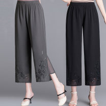 Middle aged and old women's wear Spring 2021, summer 2021 Gray, black, white L,XL,XXL,XXXL,4XL fashion trousers easy singleton  Solid color 40-49 years old thin Rose lotus Embroidery silk 96% and above 7 / 9 pants 121g / m ^ 2 (including) - 140g / m ^ 2 (including)