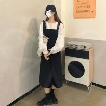 Dress Autumn 2020 Average size longuette singleton  commute High waist Solid color Socket A-line skirt straps 18-24 years old Type A Other / other Korean version 30% and below other other