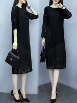 Dress Spring 2021 black M,L,XL,2XL,3XL,4XL Mid length dress singleton  Long sleeves commute Crew neck High waist Solid color Socket A-line skirt routine Others Type H Other Korean version