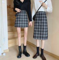 skirt Autumn 2020 S,M,L E69 black long, F26 black short, J18 Khaki long, B51 Khaki Short longuette commute High waist A-line skirt lattice Type A 18-24 years old H71151 31% (inclusive) - 50% (inclusive) Wool Other / other polyester fiber zipper Korean version