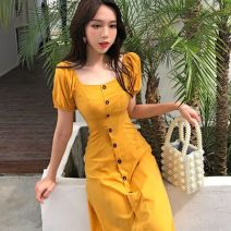 Dress Spring of 2019 yellow S,M,L Mid length dress singleton  Long sleeves commute square neck High waist Solid color Single breasted A-line skirt routine Others 18-24 years old Type A Button one point three zero