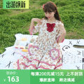 Dress Summer 2020 Off white XS,S,M,L,XL Mid length dress singleton  Short sleeve Sweet Lotus leaf collar Cartoon animation Single breasted Big swing Princess sleeve Others 18-24 years old Type A Pleats, fungus, pocket More than 95% other cotton Lolita