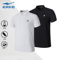 Polo shirt Erke / hongxingerke Youth fashion routine White and black M L XL XXL 3XL 4XL standard Other leisure summer Short sleeve 51221+292045 tide routine Cotton 57% polyester 43% Summer 2021