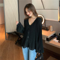 Lace / Chiffon Autumn 2020 black XL,2XL,3XL,4XL,5XL Long sleeves commute Cardigan singleton  easy Regular V-neck Solid color bishop sleeve 18-24 years old Other / other Korean version 81% (inclusive) - 90% (inclusive) nylon