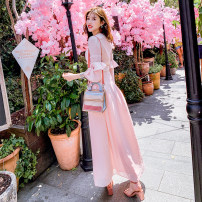 Dress Spring of 2019 Goddess powder 34/XS,36/S,38/M,40/L longuette singleton  commute V-neck High waist Solid color zipper other bishop sleeve Others 25-29 years old Various pictures Lotus leaf edge More than 95% polyester fiber