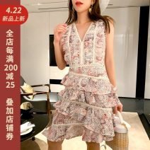 Dress Summer of 2019 Decor 34/XS,36/S,38/M,40/L Middle-skirt singleton  Sleeveless commute V-neck High waist zipper A-line skirt routine camisole 25-29 years old Type A Retro 81% (inclusive) - 90% (inclusive) polyester fiber