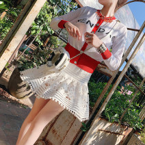 skirt Spring of 2019 34/XS,36/S,38/M,40/L Water soluble white Short skirt commute High waist A-line skirt Solid color Type A 25-29 years old More than 95% Various pictures polyester fiber Hollow, lace