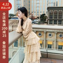Dress Spring of 2019 34/XS,36/S,38/M,40/L Mid length dress singleton  Long sleeves commute V-neck High waist Dot Cake skirt bishop sleeve Others 25-29 years old Various pictures Ruffles, stitching