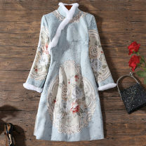cheongsam Winter 2020 XXL,S,M,L,XL wathet Long sleeves Qipao Retro Low slit daily Oblique lapel Big flower 18-25 years old Embroidery 96% and above