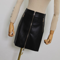 skirt Autumn 2020 S,M,L,XL Black, silver Short skirt commute High waist A-line skirt Solid color Type A 25-29 years old More than 95% other Other / other PU zipper Korean version