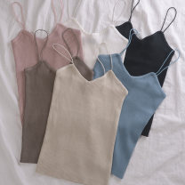 Vest sling Spring of 2018 Apricot, white, dark blue, camel, black, leather powder Average size singleton  routine Self cultivation commute camisole Solid color 18-24 years old 31% (inclusive) - 50% (inclusive) polyester fiber Other / other