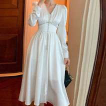 Dress Spring 2021 white S,L,M Mid length dress singleton  Long sleeves commute V-neck middle-waisted Solid color zipper Big swing routine Others 18-24 years old One for one zipper 81% (inclusive) - 90% (inclusive) other polyester fiber