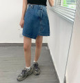 skirt Summer 2021 S,M,L blue Short skirt Versatile High waist Irregular Solid color Type A 18-24 years old 71% (inclusive) - 80% (inclusive) Denim cotton Asymmetry, button