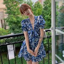 Dress Summer 2021 Blue flower S,M,L,XL Short skirt singleton  Short sleeve Sweet V-neck High waist puff sleeve 18-24 years old Type A
