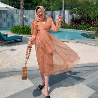 Dress Autumn 2020 Coral orange scarf, coral orange dress, 2-piece set S,M,L,XL,2XL Short skirt Two piece set Long sleeves Sweet V-neck High waist Solid color Socket Big swing bishop sleeve Others Type H Bohemia