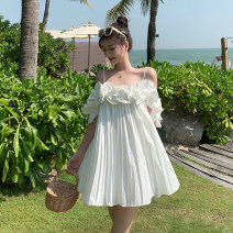 Dress Spring 2021 white S,M,L Middle-skirt singleton  Short sleeve Sweet One word collar Loose waist Solid color Socket A-line skirt Petal sleeve camisole 25-29 years old Type A Other / other 31% (inclusive) - 50% (inclusive) Chiffon other princess