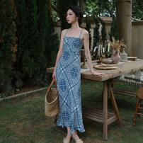 Dress Spring 2021 blue S,M,L longuette singleton  Sleeveless High waist Decor Hanging neck style 18-24 years old Type A Chiffon polyester fiber