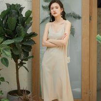 Dress Spring 2021 Apricot, black S,M,L,XL Mid length dress singleton  Sleeveless commute V-neck Loose waist Solid color Socket routine camisole Type A Retro Splicing 81% (inclusive) - 90% (inclusive) Chiffon other