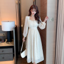 Dress Spring 2021 Apricot S,M,L,XL Mid length dress singleton  Long sleeves commute V-neck High waist Solid color Socket A-line skirt bishop sleeve Others 25-29 years old Type A Retro More than 95% Chiffon polyester fiber