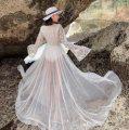 Dress Summer 2021 white S,M,L,XL longuette singleton  Long sleeves Sweet V-neck High waist Decor Big swing pagoda sleeve Type A Bohemia