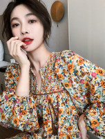 Dress Spring 2021 Picture color S,M,L,XL Short skirt Long sleeves commute Crew neck High waist Decor Socket Big swing bishop sleeve 25-29 years old Type A Retro 0221-03 polyester fiber
