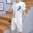 Leisure sports suit summer 3XL,2XL,XL,L,M,4XL,5XL Black, white, Navy, apricot Short sleeve Other / other shorts teenagers T-shirt Ten mile peach blossom short suit cotton