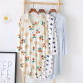 Nightdress Other / other M, L Sweet Long sleeves Leisure home Middle-skirt spring Plants and flowers Small lapel other More than 95% Modal fabric