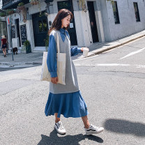 Dress Spring 2021 grey S,M,L,XL longuette singleton  Long sleeves Sweet other Loose waist Solid color Socket routine Type H 30% and below cotton solar system