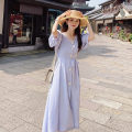 Dress Summer 2021 Milky white, light purple S,M,L,XL longuette singleton  Long sleeves square neck High waist Solid color Socket Big swing puff sleeve Breast wrapping 18-24 years old 51% (inclusive) - 70% (inclusive) other other