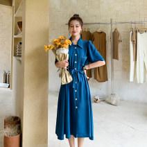Dress Spring 2021 Peacock blue, purple S,M,L,XL Mid length dress Short sleeve Single breasted Type A Chiffon