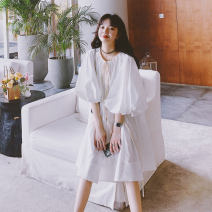 Dress Summer 2021 milky white S,M,L Mid length dress singleton  elbow sleeve Sweet Crew neck Loose waist Solid color Socket Princess Dress puff sleeve Type H 31% (inclusive) - 50% (inclusive) polyester fiber college
