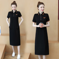 Dress Summer 2021 Black, Navy S,M,L,XL,2XL,3XL Mid length dress singleton  Short sleeve commute Polo collar Loose waist stripe Socket A-line skirt routine Others 25-29 years old Type H Korean version Embroidery, pocket, stitching, thread, button 81% (inclusive) - 90% (inclusive) cotton