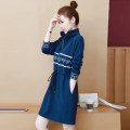 Dress Spring 2021 S,M,L,XL,2XL,3XL Middle-skirt singleton  Long sleeves commute stand collar High waist letter Socket A-line skirt routine Others 25-29 years old Type A Korean version 81% (inclusive) - 90% (inclusive) other cotton