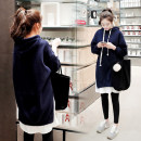 Women's large Autumn of 2018, winter of 2018 Dark blue spring and autumn thin, dark blue down thick Large XL, large XXL, large XXL, large XXXXL, large L Sweater / sweater Fake two pieces commute easy moderate Socket Long sleeves Solid color Korean version Hood Medium length cotton Collage routine