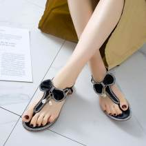 Sandals 34, 35, 36, 37, 38, 39, 30, 31, 32, 40, 41, 42, 43, 20, respectively Apricot boutique, pink boutique, silver boutique, black boutique silk Qianbailin Pinch toe Flat bottom Flat heel (1cm or less) Spring 2020 Flat buckle Sweet Solid color Adhesive shoes rubber daily Back space Low Gang Hollow