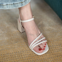 Sandals 34, 35, 36, 37, 38, 39, 31, 32, 33, 40, 41, 42, 43, 20 Beige boutique, yellow boutique Superfine fiber Qianbailin Barefoot Thick heel High heel (5-8cm) Summer 2020 Flat buckle leisure time Solid color Adhesive shoes Youth (18-40 years old), middle age (40-60 years old) TPR (tendon) Back space