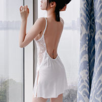 Pajamas / housewear set female Other / other Average size Polyester (polyester) camisole sexy pajamas summer Thin money V-neck Solid color youth Hollowing out 200g and below Short skirt