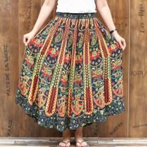 skirt Summer 2021 Average size Green, dark blue, purple Mid length dress fresh Natural waist Umbrella skirt Decor Type X S006 other Poems by Gao Ni printing