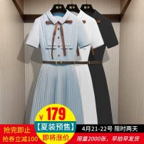 Dress Summer 2021 Blue, white, black S,M,L,XL Mid length dress singleton  Short sleeve commute Polo collar middle-waisted Solid color Socket Pleated skirt routine Others 25-29 years old Type X imperial concubine literature Bowknot, tuck, lace up, button, zipper FZ0982-NEW More than 95% other other