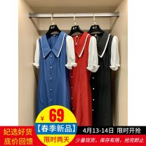 Dress Summer 2021 Blue, red, black M,L,XL Mid length dress singleton  Short sleeve commute Doll Collar Solid color other other puff sleeve Others Type H Stitching, lacing FZ91666 More than 95% polyester fiber