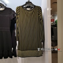 Dress Summer 2021 Black long sleeve XXS,XS,S,M,L,XL singleton  Short sleeve Crew neck middle-waisted Solid color Socket 25-29 years old Lotus leaf edge