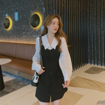 Women's large Autumn 2020 Dress Two piece set commute easy moderate Cardigan Long sleeves Solid color Korean version Polo collar Medium length 25-29 years old Middle-skirt