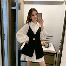 Women's large Spring 2021, summer 2021, autumn 2021 Single vest, white shirt Large XL, large XXL, large XXL, large XXXXL, large L, M Dress singleton  commute easy moderate Socket Long sleeves Polo collar cotton Three dimensional cutting routine 25-29 years old Three dimensional decoration