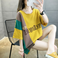 T-shirt M,L,XL,2XL Summer 2020 Short sleeve Crew neck easy Regular routine commute cotton 96% and above 18-24 years old Korean version originality Cartoon animation, letters, color matching, splicing