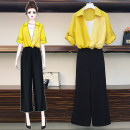 Women's large Summer 2020 Yellow top, black top, black pants XL [100-120 Jin recommended], 2XL [120-140 Jin recommended], 3XL [140-160 Jin recommended], 4XL [160-180 Jin recommended], 5XL [180-200 Jin recommended] trousers Two piece set commute thin Socket Korean version Crew neck polyester
