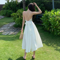 Dress Summer 2021 White, Caramel S,M,L longuette singleton  Sleeveless Sweet V-neck High waist Solid color Socket Big swing camisole 18-24 years old Type A Other / other Bows, open backs, bandages 30% and below Silk and satin other Bohemia